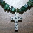 Green Aventurine Necklace with Dalmation Jasper Cross Pendant