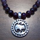 Amethyst  Necklace with Pewter Heart Line Zuni Bear Pendant