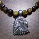 Tiger's Eye Necklace with Pewter American Eagle Head Pendant