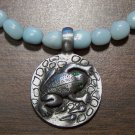 Amazonite Necklace with Pewter Frog Green Eyes Pendant
