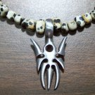 Dalmation Jasper Necklace with Pewter Gothic Spider Pendant