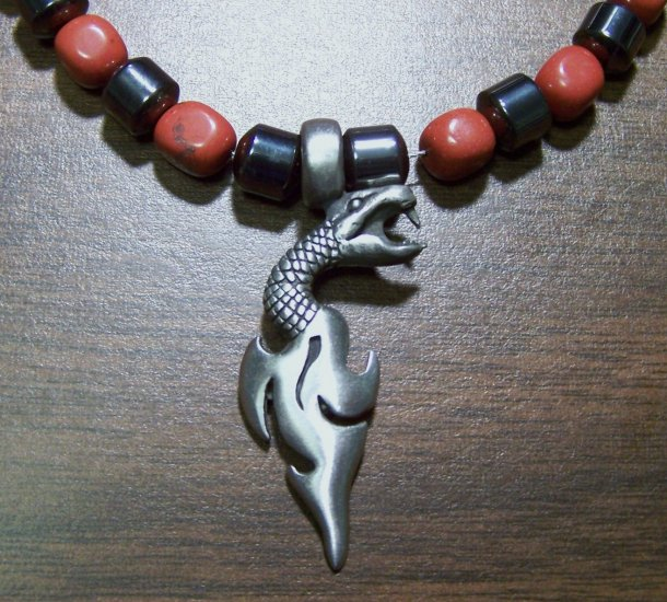 Red Jasper & Hemalyke Necklace with Pewter Snake Dagger Pendant