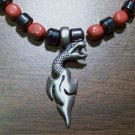 Red Jasper & Hemalyke Necklace with Pewter Snake Dagger Pendant