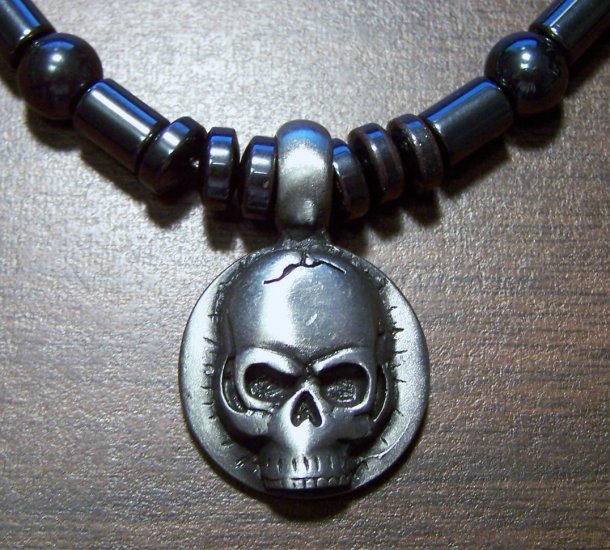 Magnetic Hemalyke Necklace with Pewter Human Skull Pendant