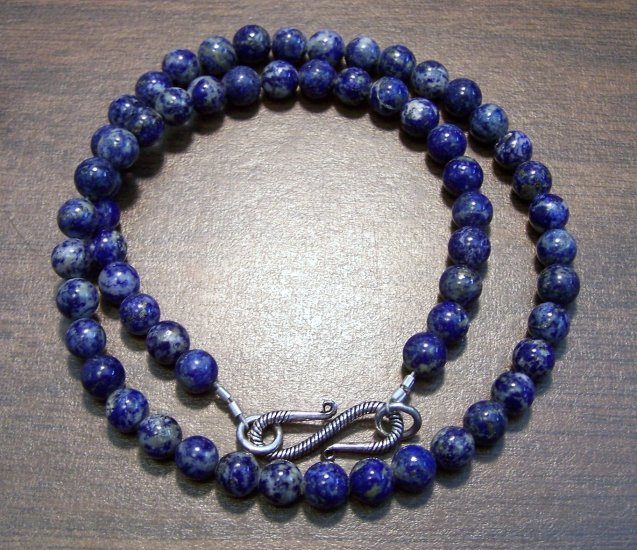 Natural Stone Lapis Lazuli Necklace with Sterling Silver Clasp