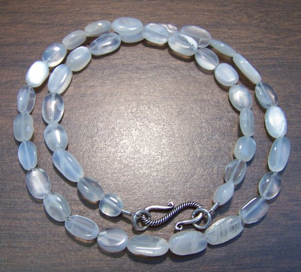 Moonstone Natural Necklace with Sterling Silver Clasp U.S.A.