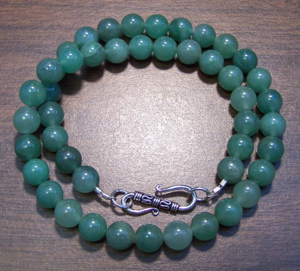 """Green Aventurine 16"""" Necklace with Sterling Silver Clasp U.S.A."""