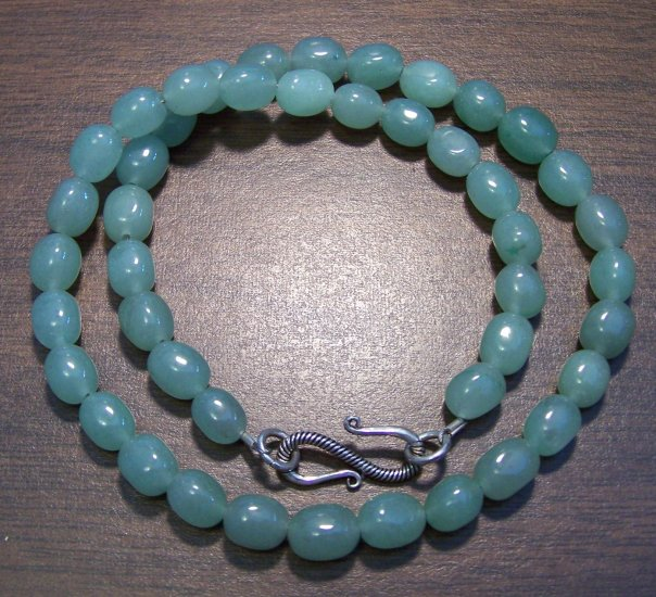 Green Aventurine Pebble Necklace with Sterling Silver Clasp