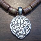Tribal Necklace with Pewter Sketched  Tiger Head Pendant