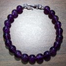 Amethyst Natural Stone Bracelet with Sterling Silver Clasp