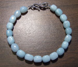 Amazonite Natural Stone Bracelet Sterling Silver Clasp U.S.A.
