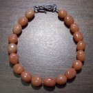 Red Aventurine Natural Stone Bracelet Sterling Silver Clasp