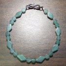 Green Aventurine Tribal Stone Bracelet Sterling Silver Clasp