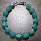 Green Aventurine Faceted Stone Bracelet Sterling Silver Clasp