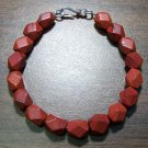 Red Jasper Faceted Stone Bracelet Sterling Silver Clasp U.S.A.