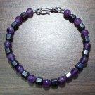Amethyst & Hemalyke Bracelet Sterling Silver Clasp U.S.A.