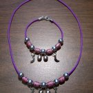 Purple Necklace & Bracelet with Red Tribal Beads & Moons CNB1