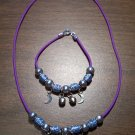 Purple Necklace & Bracelet with Blue Tribal Beads & Moons CNB4