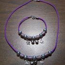 Purple Necklace & Bracelet with Tan Tribal Beads & Stars CNB7