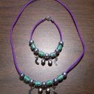 Purple Necklace & Bracelet with Green Tribal Beads & Moons CNB8