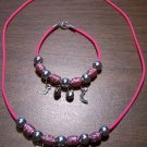 Pink Necklace & Bracelet with Red Tribal Beads & Moons CNB10