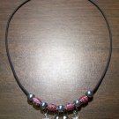 Black Charm Necklace with Red Tribal Beads & Stars U.S.A.
