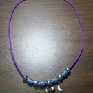 Purple Charm Necklace with Blue Tribal Beads & Moons U.S.A.