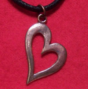 Antiqued Copper Pewter True Love Heart Pendant Necklace