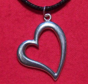 Antiqued Pewter Big Love Heart Pendant Necklace U.S.A.