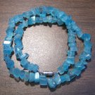 "16"" Blue Aqua Cat's Eye Glass Chip Necklace Made in U.S.A."