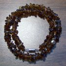 "Amber look alike Glass Chip Necklace 16"" Made in U.S.A. agn1"