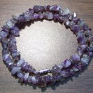 "Amethyst Natural Stone Chip Necklace 18"" Made in U.S.A. asn3"