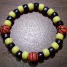 "Acrylic Black & Yellow Basketball Sport Stretch Bracelet 7"""