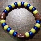 """Acrylic Blue & Yellow Football Sport Stretch Bracelet 7"""" U.S.A."""