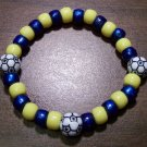 "Acrylic Blue & Yellow Soccer Sport Stretch Bracelet 7"" U.S.A."