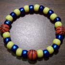 """Acrylic Blue & Yellow Basketball Sport Stretch Bracelet 7"""" U.S.A."""