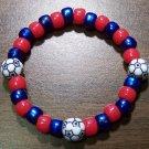 """Acrylic Blue & Red Soccer Sport Stretch Bracelet 7"""" U.S.A."""