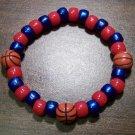 "Acrylic Blue & Red Basketball Sport Stretch Bracelet 7"" U.S.A."