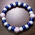 "Acrylic Blue & White Baseball Sport Stretch Bracelet 7"" U.S.A."