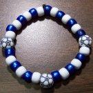 "Acrylic Blue & White Soccer Sport Stretch Bracelet 7"" U.S.A."