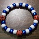 "Acrylic Blue & White Basketball Sport Stretch Bracelet 7"" U.S.A."