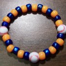 "Acrylic Blue & Orange Baseball Sport Stretch Bracelet 7"" U.S.A."