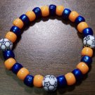 "Acrylic Blue & Orange Soccer Sport Stretch Bracelet 7"" U.S.A."