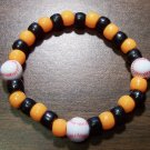 "Acrylic Black & Orange Baseball Sport Stretch Bracelet 7"" U.S.A."