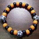 "Acrylic Black & Orange Soccer Sport Stretch Bracelet 7"" U.S.A."