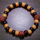 Acrylic Black & Orange Basketball Sport Stretch Bracelet 7""