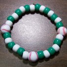 "Acrylic Green & White Baseball Sport Stretch Bracelet 7"" U.S.A."