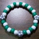 "Acrylic Green & White Soccer Sport Stretch Bracelet 7"" U.S.A."