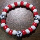 "Acrylic Red & White Soccer Sport Stretch Bracelet 7"" U.S.A."