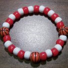 "Acrylic Red & White Basketball Sport Stretch Bracelet 7"" U.S.A."
